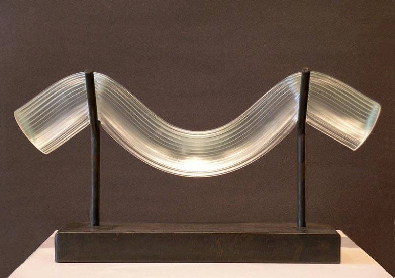 Steve Adams, Clear Bend 2007, fused glass and steel