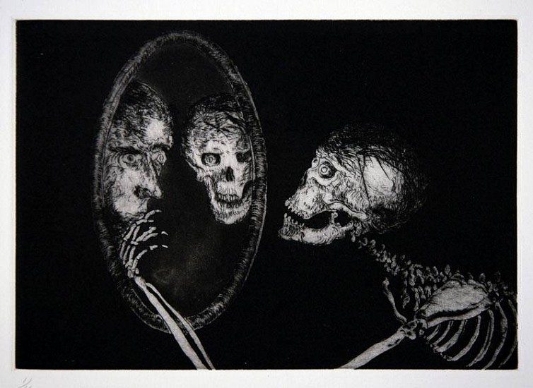Frank Boyden, Uncle Skulky Beckons the Artist  From His Mirror of Illusion 2003, framed drypoint, aquatint, & spitbite; 1 copper plate