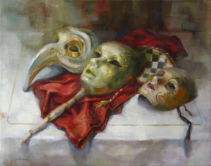 Victoria Brace, Three Masks 2008, oil on canvas