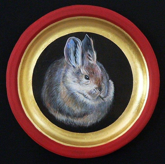 Mary Frances Dondelinger, Columbia Basin Pygmy Rabbit, Endangered 2013, egg tempera, 23 c. gold, acrylic