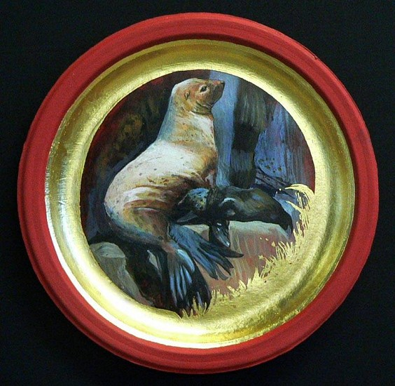 Mary Frances Dondelinger, Stellar Sea Lion, Threatened 2013, egg tempera, 23 c. gold, acrylic
