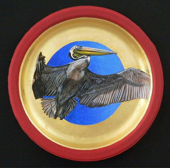 Mary Frances Dondelinger, Brown Pelican, Least Concern 2013, egg tempera, 23 c. gold, acrylic