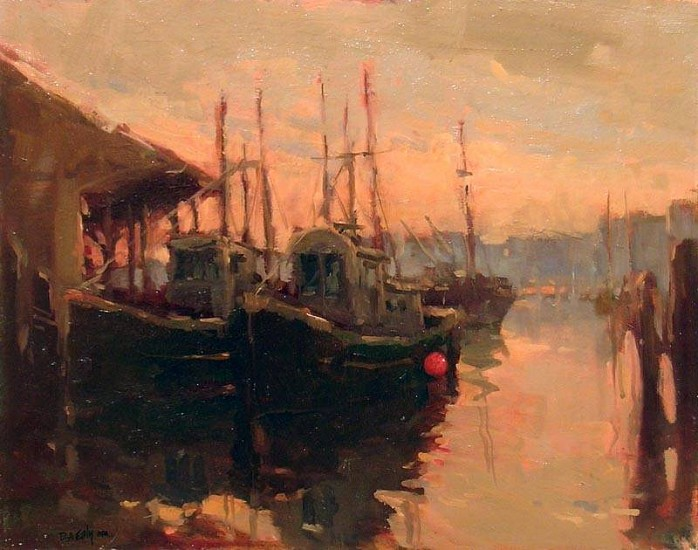 Don Ealy, Boats at Sunrise oil on panel