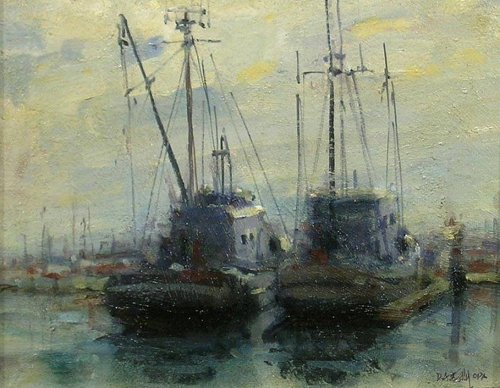 Don Ealy, Boats, Cresent City oil on panel