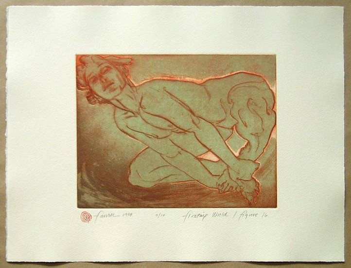 Mary Farrell, Floating World / Figure 16 1998, framed intaglio