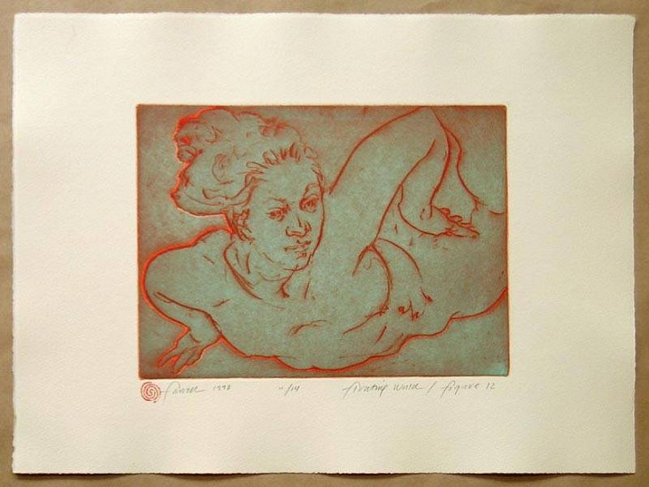 Mary Farrell, Floating World / Figure 12 1998, framed intaglio