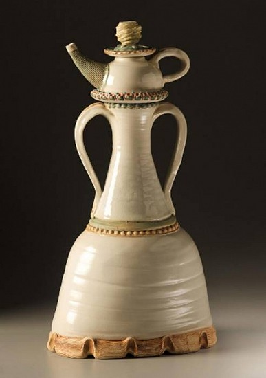 Gina Freuen, Strap Handled Jar with Companion Teapot and Saucer 2008, white stoneware