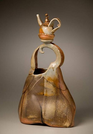 Gina Freuen, Strap Handled Figure Vessel with Companions 2010, wood fired porcelain/stoneware blend