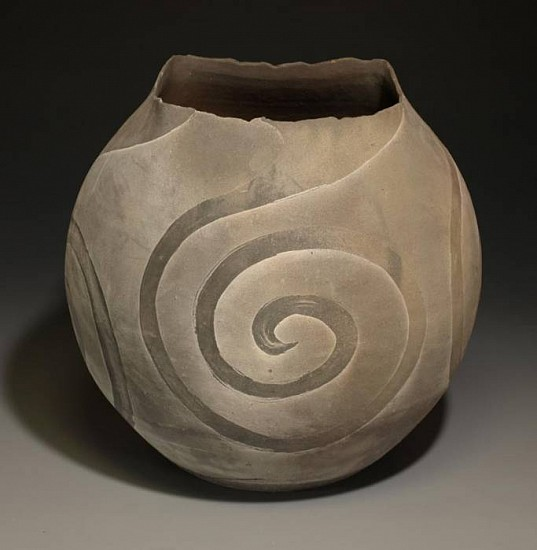 Terry Gieber, Erosion Series Jar 2008, stoneware with slips, resist
