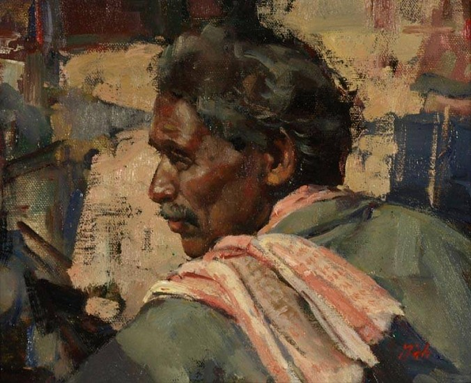 Del Gish, Rickshaw Owner -India oil on board