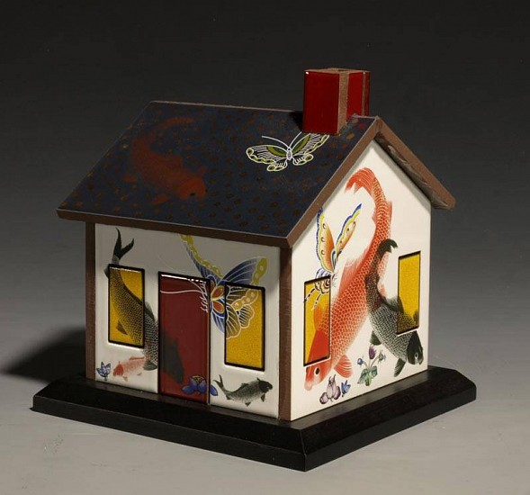 Robert Harrison, Elevator House 2010, glazed ceramic tiles with gold luster & decals