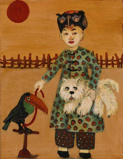 Molly Hill, Stray Parrot & Dog Preserve 2008, acrylic on board