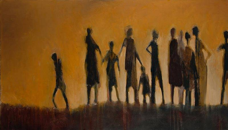 Mel McCuddin, Figures in the Mist 2012, oil on canvas