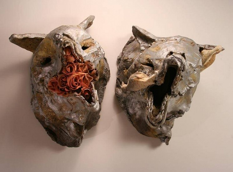 Ryan Mitchell, Wolves in the Closet 2010, wood fired stoneware/porcelain