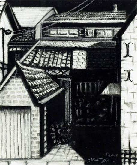 Katherine Nelson, Back Entrance 2007, charcoal