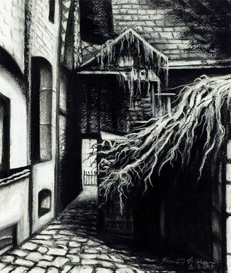 Katherine Nelson, Alley Chimney 2007, charcoal