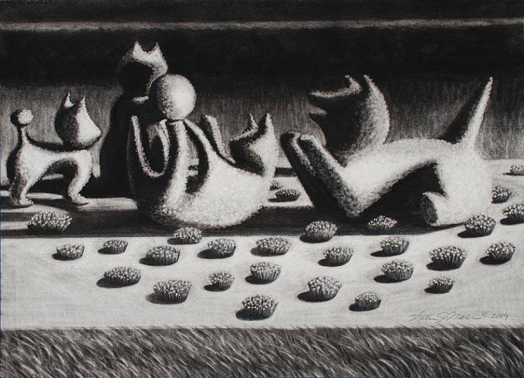 Katherine Nelson, Play Group I 2009, charcoal & pastel