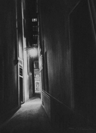 Katherine Nelson, Venetian Alley 2010, charcoal on paper