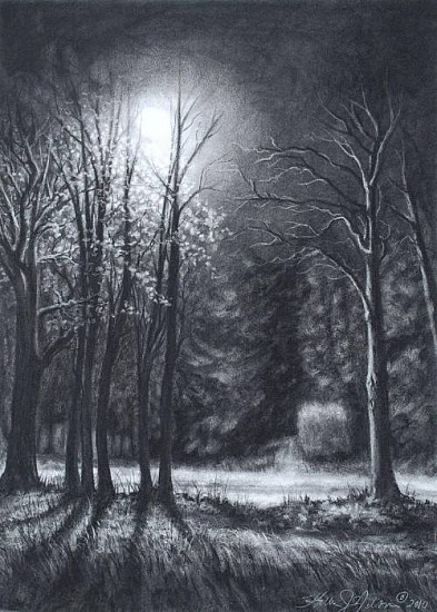 Katherine Nelson, Rural Road 2010, charcoal on paper