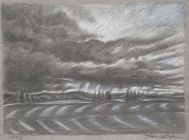 Katherine Nelson, Cloud Burst 2011, graphite and white charcoal on paper