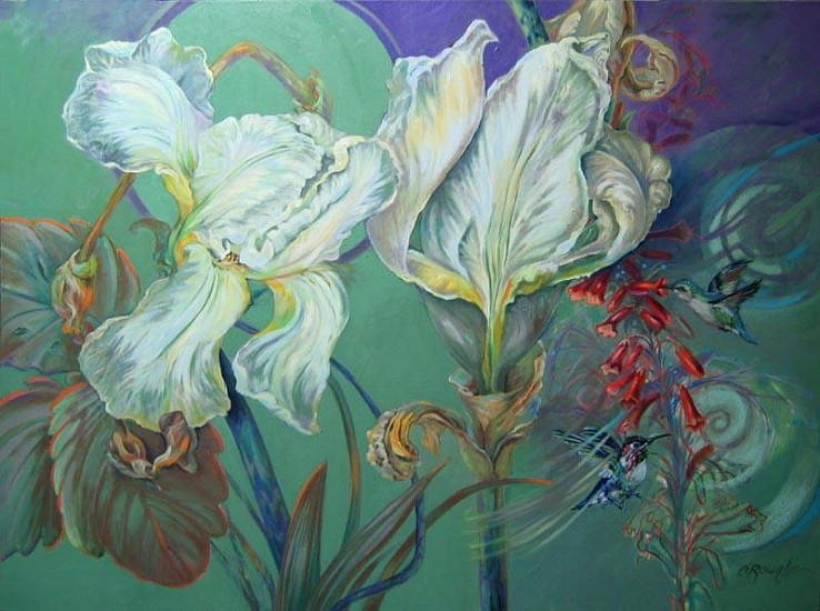 Kay O'Rourke, Iris with Hummingbirds 2008, oil on canvas