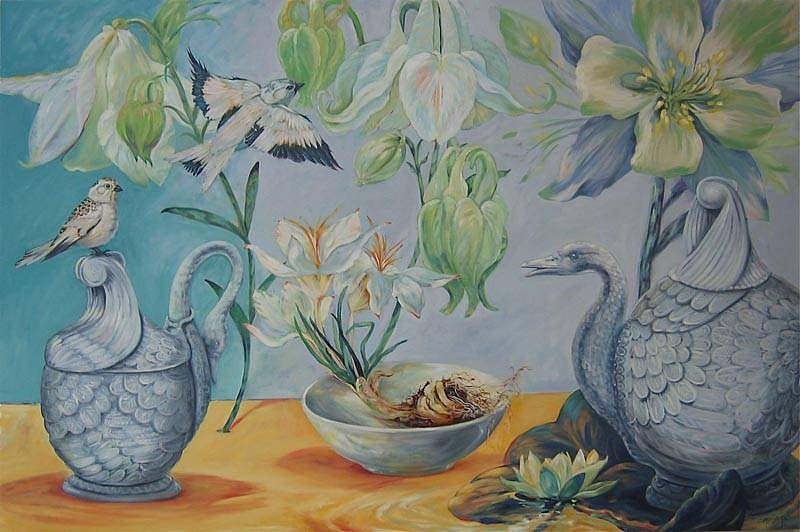 Kay O'Rourke, Snow Bunting and Aquilegia 2010, oil on canvas
