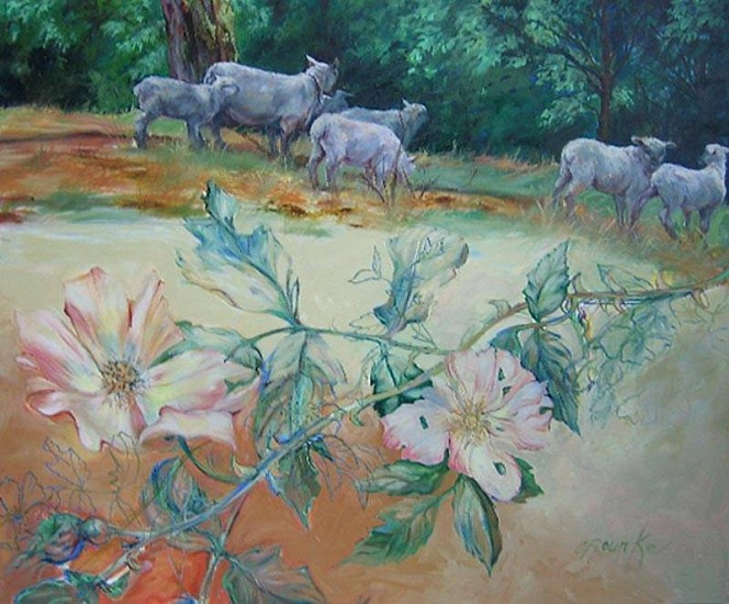 Kay O'Rourke, Pastoral with Wild Roses oil on canvas