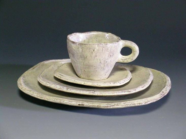 Joseph Pintz, White Place Setting (dinner plate, dessert plate, cup and saucer) 2007, earthenware