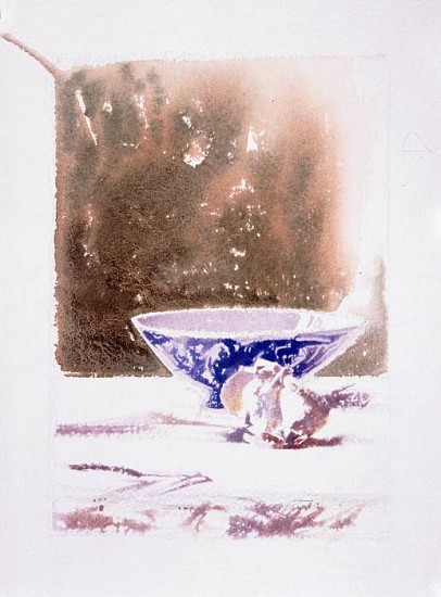 Charles Timothy Prutzer, Garlic and Blue Bowl water color & paper
