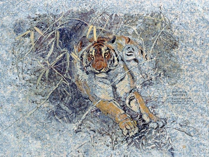 Charles Timothy Prutzer, Indian Tiger - First Impression, Madhya Pradesh - North Central India 1997, acrylic on hand prepared paper