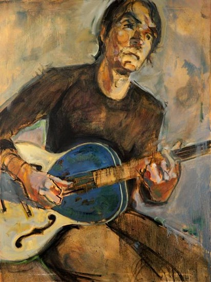 Dan Spalding, Figure with Blue Guitar oil on canvas