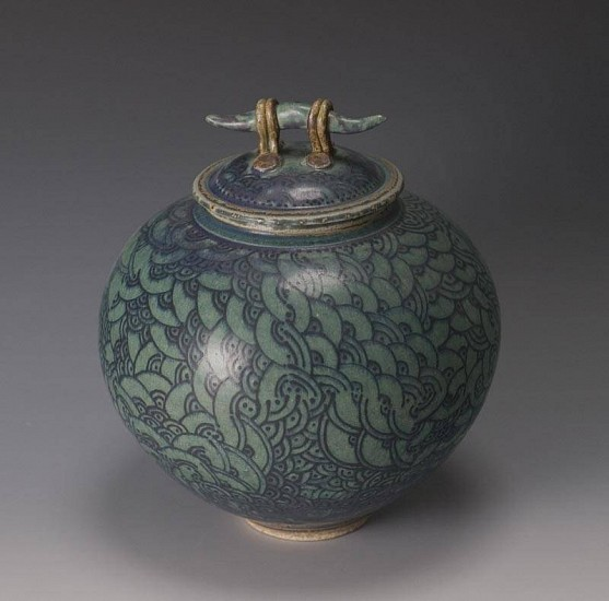 Donna Tousley, Covered Jar with Handle 2007, stoneware