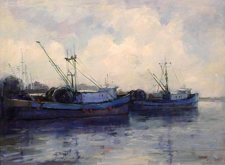 Don Ealy, Blue Boats oil on panel
