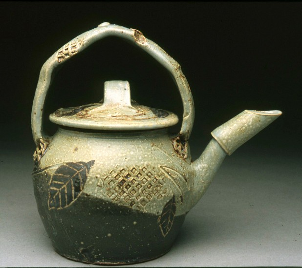 Curtis Hoard, Teapot with Leaves salt glazed stoneware