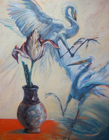 Kay O'Rourke, Tulip with Egrets 2013, oil on canvas