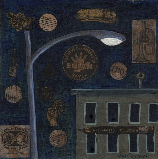 Max Grover, Lone Street Light 2013, acrylic & collage on board