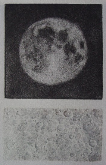 Elaine Green, Gray Moon 2013, mezzo tint and silverpoint drawing