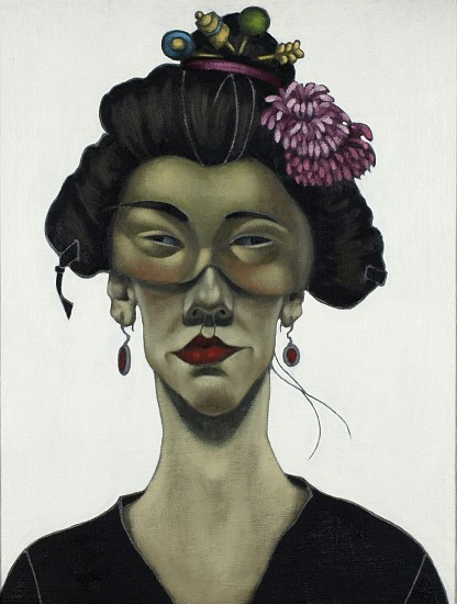 Viky Garden, Portrait with Chinese Mask 2006, oil on hessian