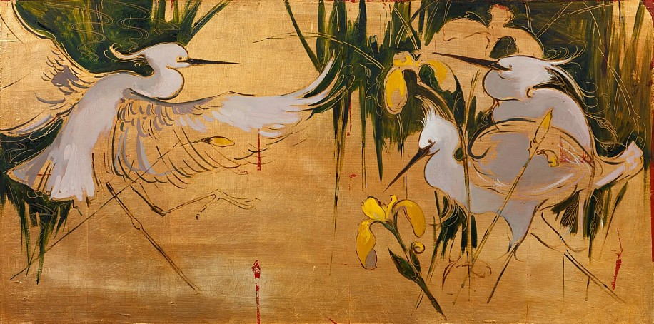 Shannon Troxler, Egrets & Irises 2013, oil on gold leaf