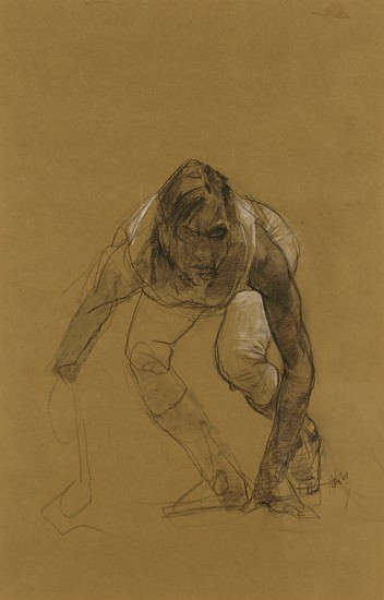 Peter Cox, Untitled -female 2009, pastel on brown paper