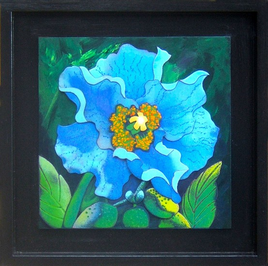 Mary Dee Dodge, Himalayan Blue Poppy 2015, enamel on copper, painted wood