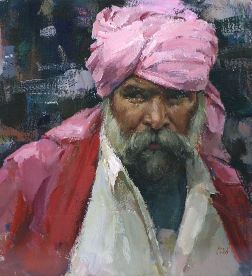Del Gish, The Pink Turban water media