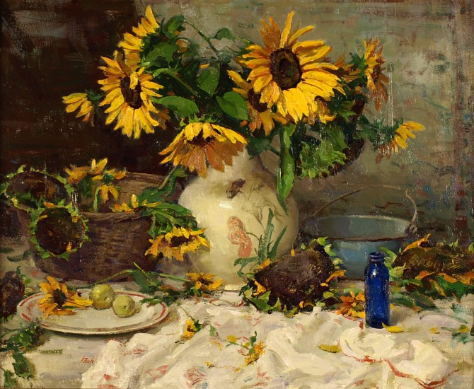 Del Gish, Sunflowers with Blue Bottle oil on canvas