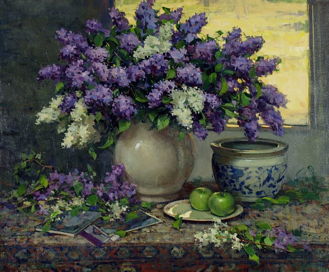 Del Gish, Lilacs with Green Apples acrylic