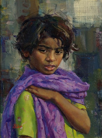 Del Gish, Girl with a Purple Shawl oil on linen