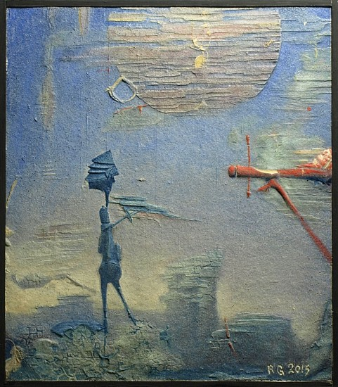 Robert Grimes, Leaving Home 1985, oil on cast wood pulp
