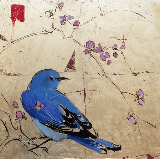 Shannon Troxler, Spring Blues 2 2015, oil on gold leaf panel