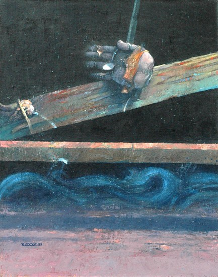 Robert Grimes, Catching the Coin 1985, oil on canvas