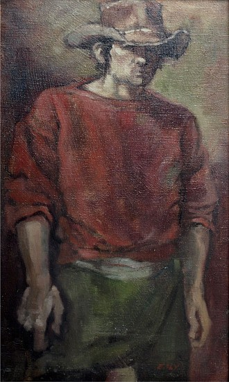 Don Ealy, Self Portrait as a Gun Slinger circa 1980's, oil on canvas