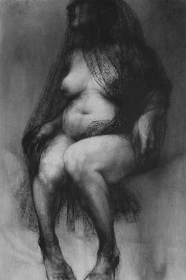 Elaine Green, Veiled 2010, charcoal on paper
